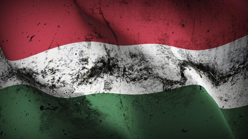 Smutsig flagga för Ungerngrunge som vinkar på vind vektor illustrationer