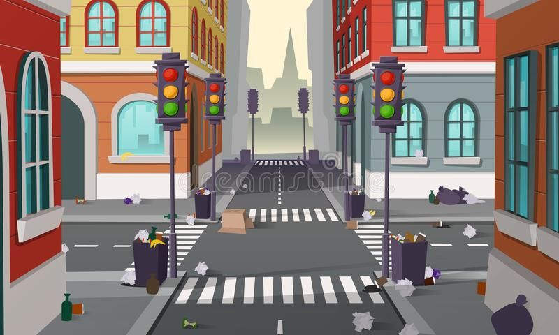 Smutsig gata med avskräde, vektorbakgrund stock illustrationer