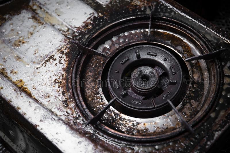 Smutsig grunge för gasugn med olje- fett arkivbilder