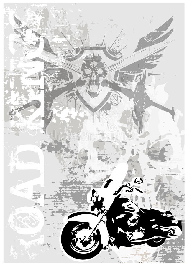smutsig motocycleaffisch för bakgrund stock illustrationer