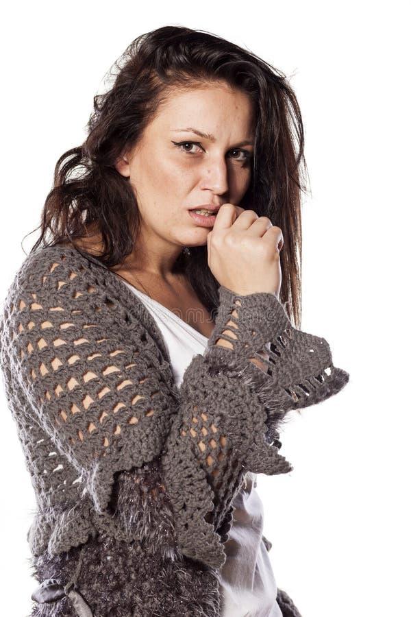 Smutsig och förskräckt kvinna arkivfoton