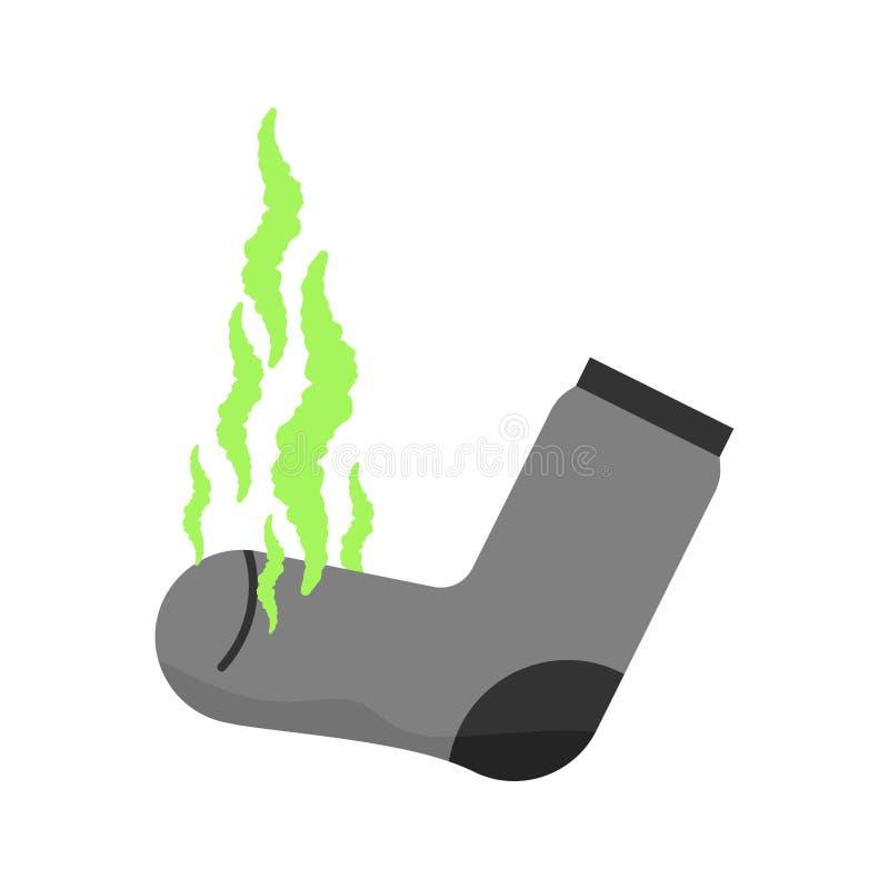 smutsig socka Otrevlig lukt stank Grönt stinkande moln Stinky s royaltyfri illustrationer