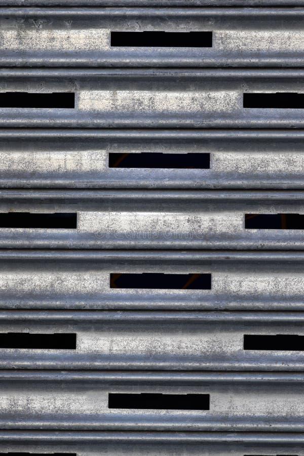 Smutsig textur för Closeup för metallsäkerhetsSlats royaltyfri foto