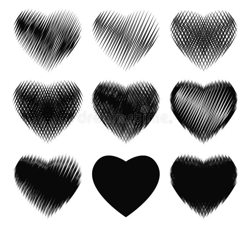 Smutsiga former för olik grunge av svart hjärta på den vita bakgrundssamlingen stock illustrationer