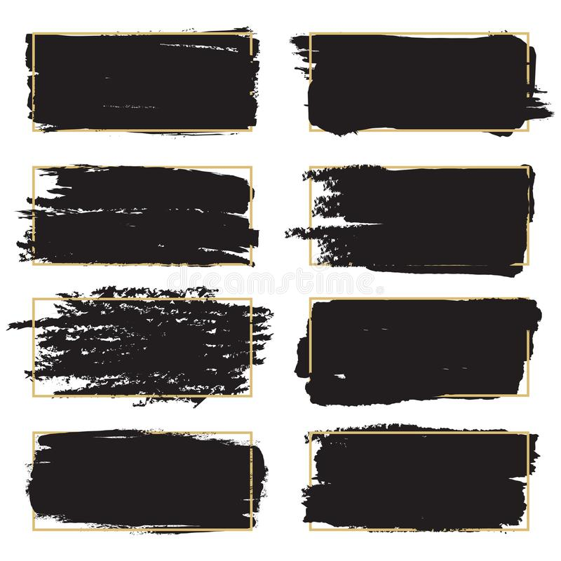 Smutsiga grungedesignbeståndsdelar - konstnärliga ramar för svart målarfärg royaltyfri illustrationer
