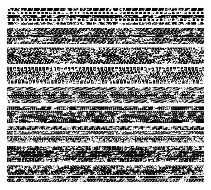 Smutsiga grungegummihjulspår, fläckar för gyttjacykeldäckmönster som isoleras på den vita vektorsamlingen stock illustrationer