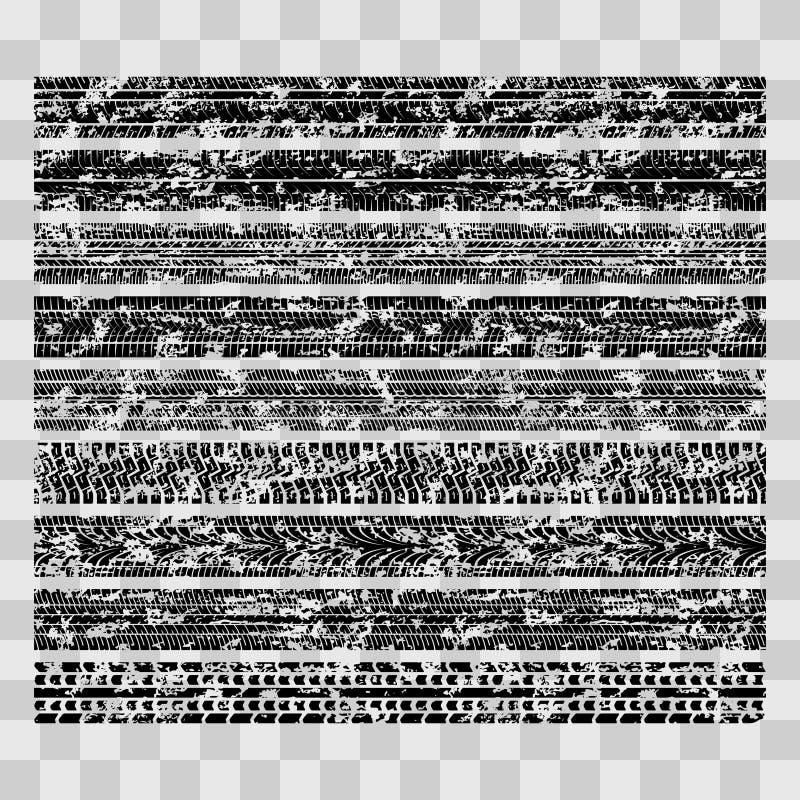 Smutsiga grungegummihjulspår, fläckar för gyttjacykeldäckmönster som isoleras på genomskinlig bakgrund vektor illustrationer