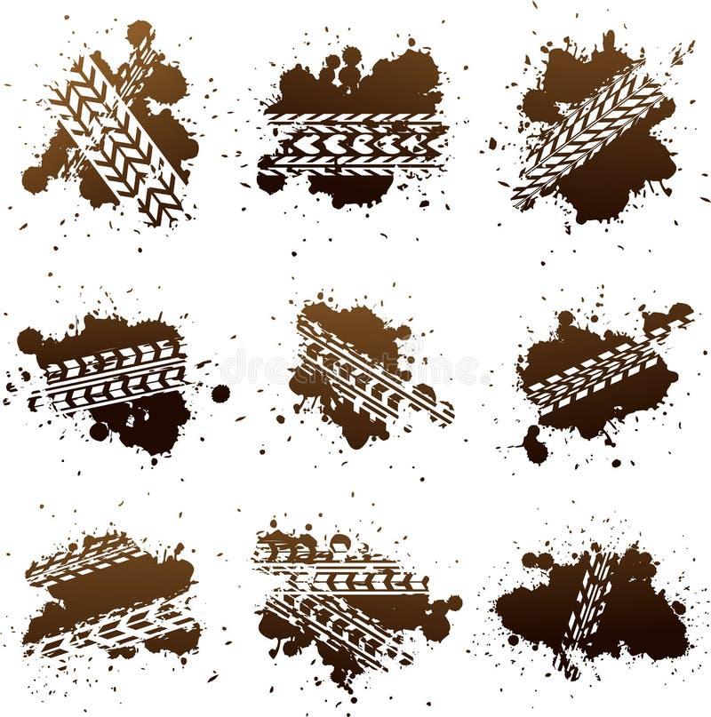 smutsiga mudgummihjulspår stock illustrationer