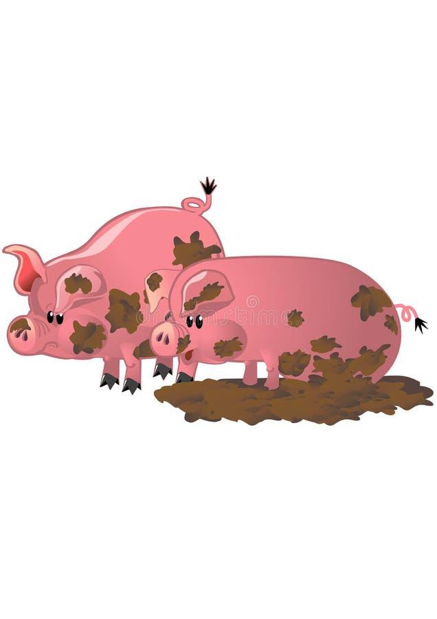 smutsiga pigs två stock illustrationer
