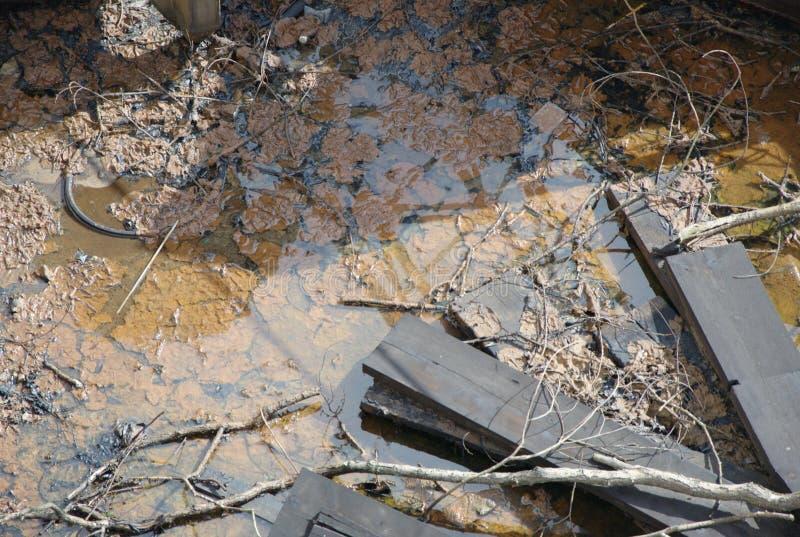 Smutsigt kontaminerat brunt vatten med avfall och träbräden royaltyfria bilder