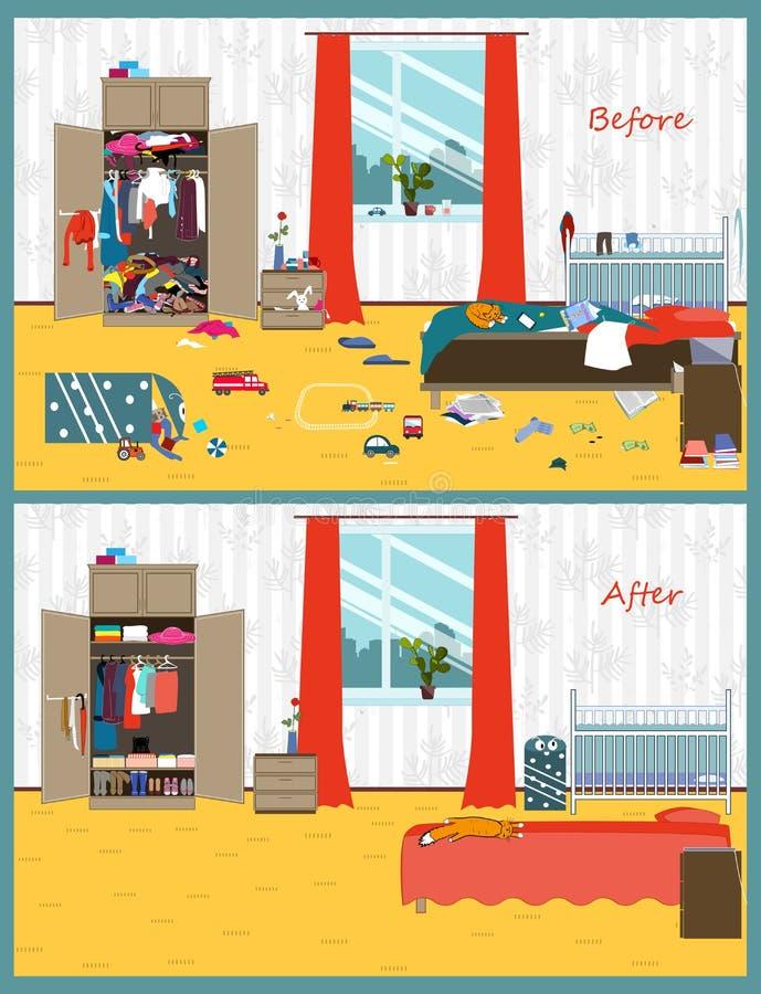 Smutsigt och rent rum Oordning i inre Rum före och efter som gör ren Plan stilvektorillustration royaltyfri illustrationer