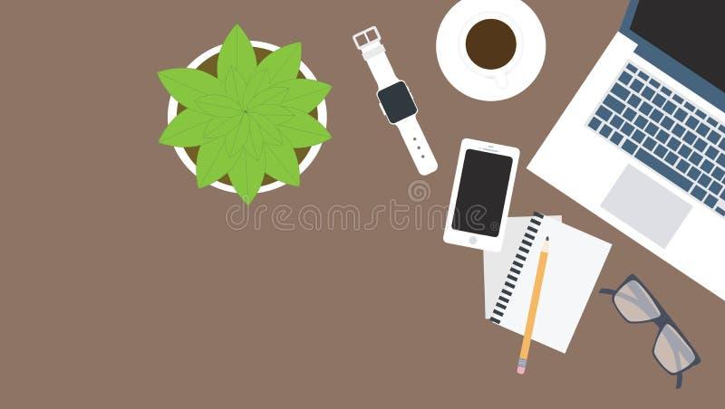 smutsigt skrivbord stock illustrationer