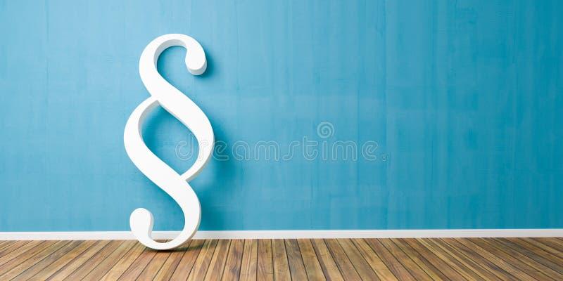 Smybol blanc de paragraphe contre un mur bleu - image de concept de loi et de justice - rendu 3D illustration stock