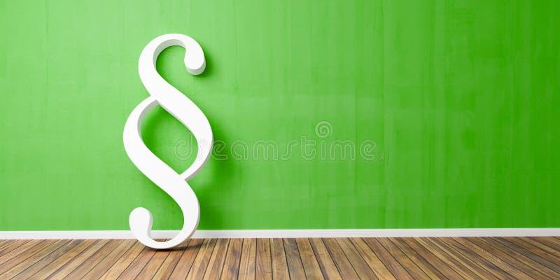 Smybol blanc de paragraphe contre un mur vert - image de concept de loi et de justice - illustration 3D images stock