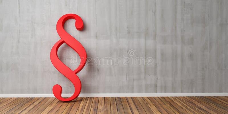 Smybol rouge de paragraphe contre un mur en béton gris - image de concept de loi et de justice - rendu 3D illustration libre de droits