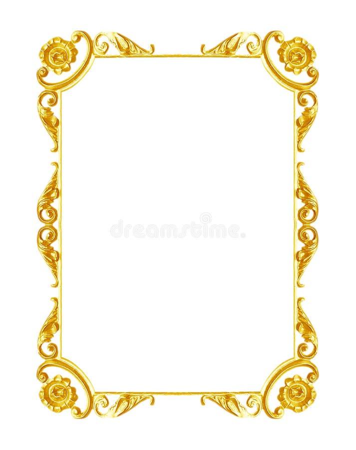 Smycka beståndsdelar, designer för guld- ram för tappning blom- arkivbild
