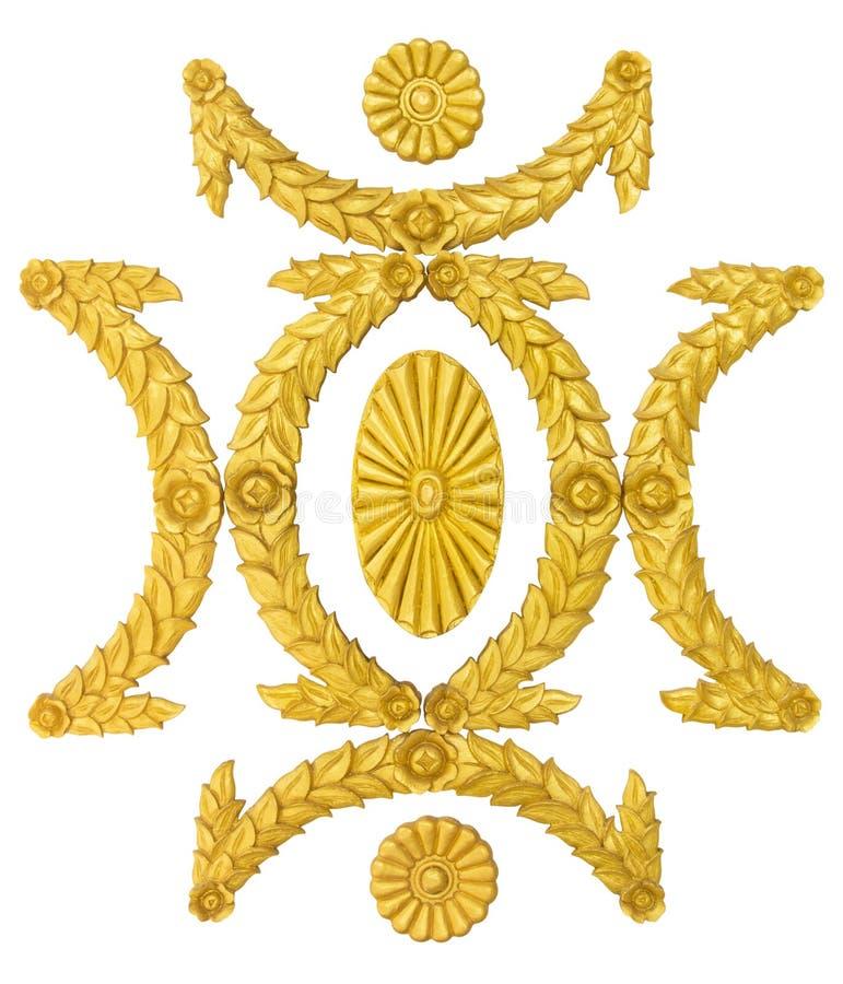 Smycka för stuckaturgarnering för ramen guld- beståndsdelar på vit fotografering för bildbyråer