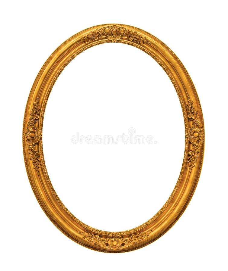 Smyckad guld pläterad tom bildram som isoleras på vit arkivbild