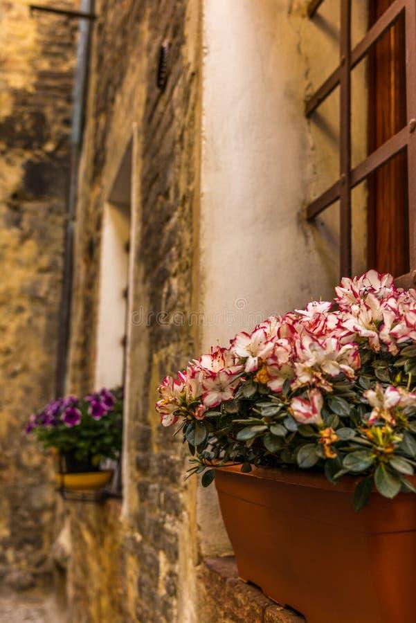 Smyckade fönster i de medeltida gatorna av San Gimignano arkivfoto