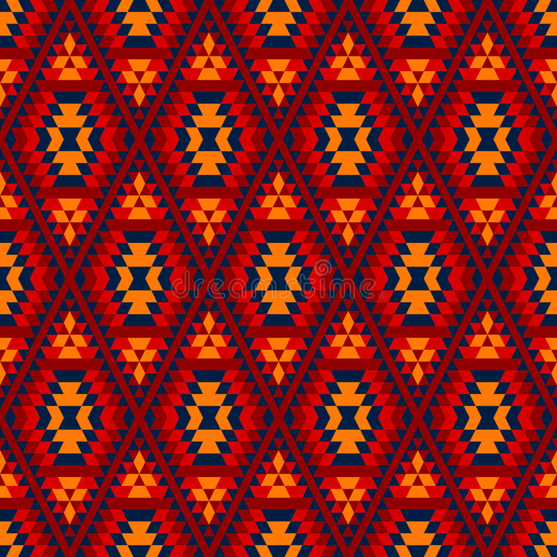 Smyckar den aztec diamanten för färgrika röda gulingblått den geometriska etniska sömlösa modellen, vektor royaltyfri illustrationer