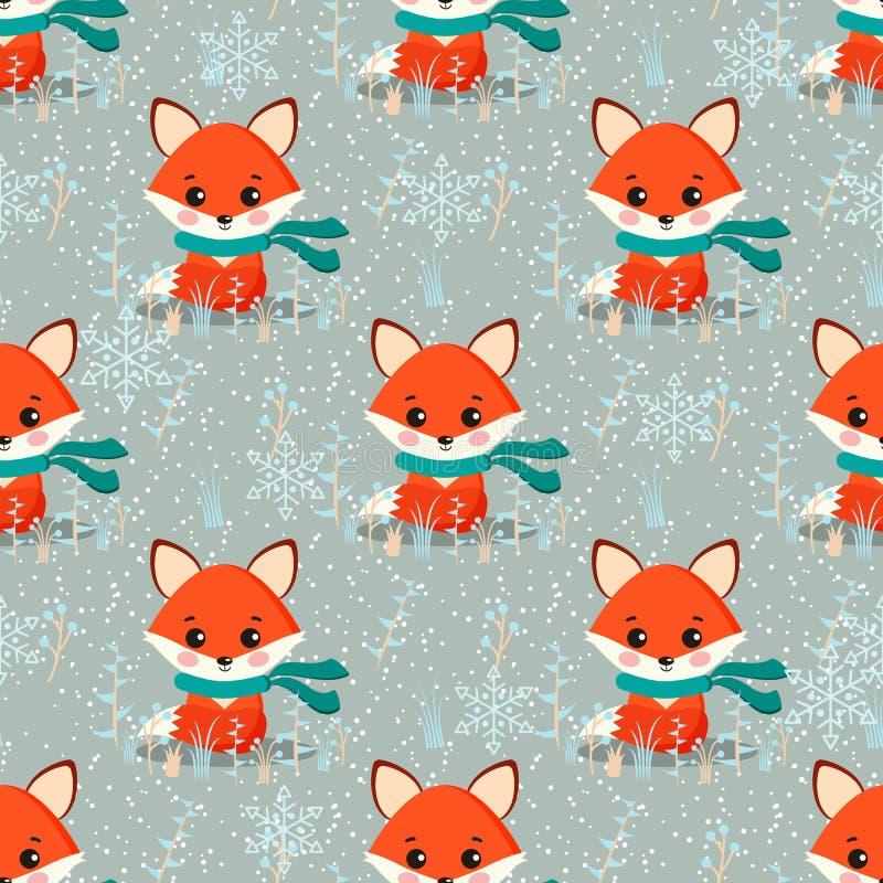 Smyckar den sömlösa vintermodellen för vektorn med den gulliga räven med halsduken, växter, snöflingor vektor illustrationer