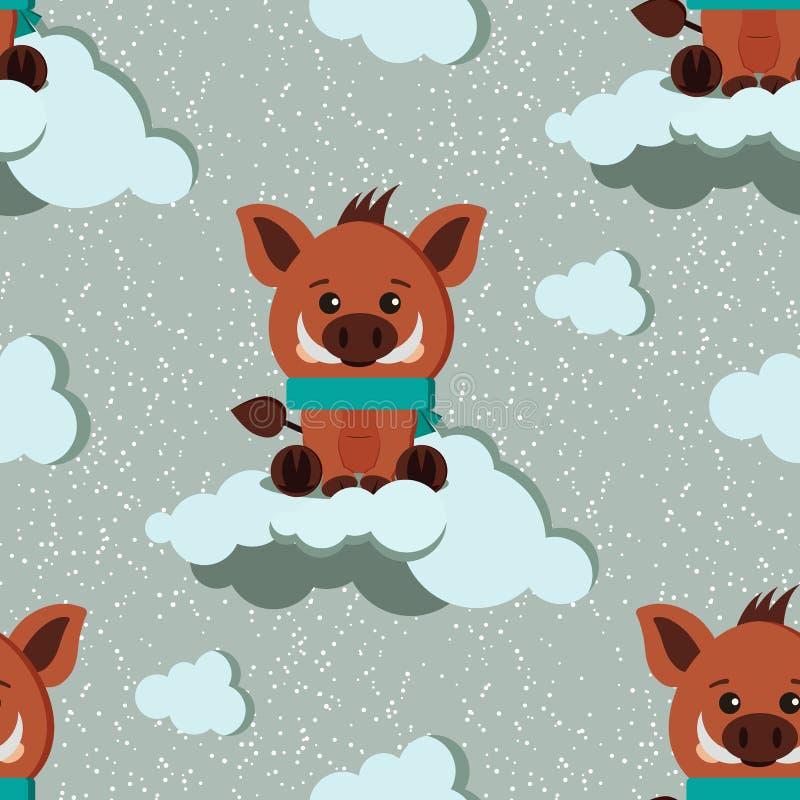 Smyckar den sömlösa vintermodellen för vektorn med den gulliga vildsvinet med halsduken, moln på snöig bakgrund stock illustrationer