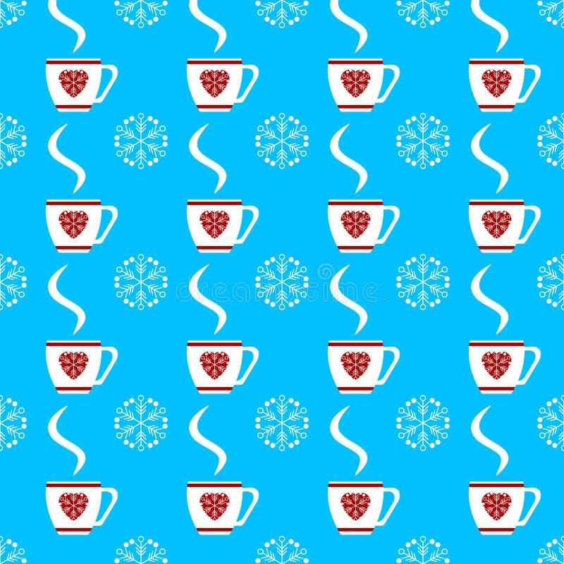 Smyckar den sömlösa vintermodellen för vektorn med vita koppar och snöflingor på blå bakgrund royaltyfri illustrationer