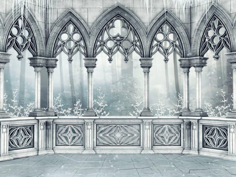 Smyckat gotiskt fönster med istappar stock illustrationer