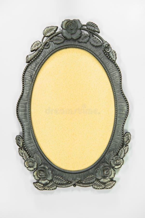 Smyckat silver pläterad tom bildram arkivbilder