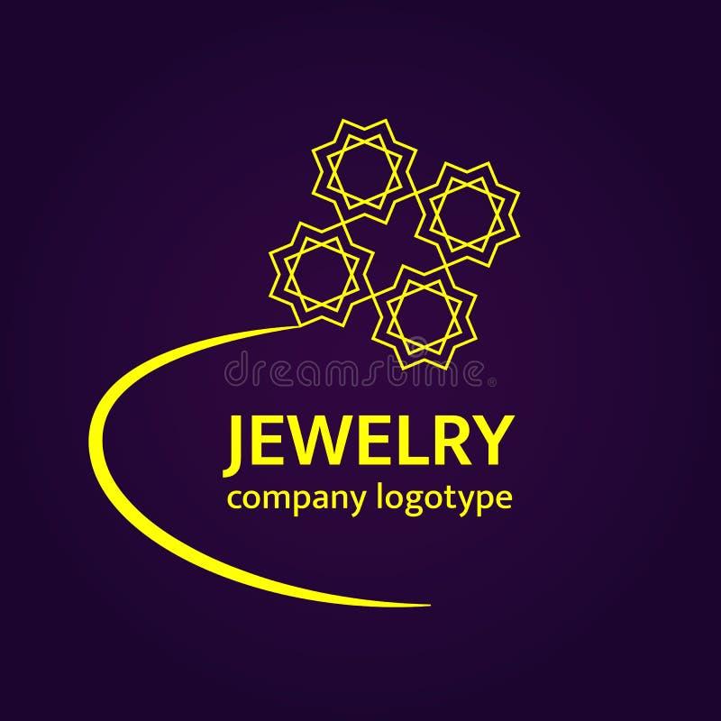 Smycken Logo Design Logotyp för guld- cirkel Lyxig vektorsymbol i arabisk stil Elegant guld- smyckenbeståndsdel på en mörk bakgru stock illustrationer