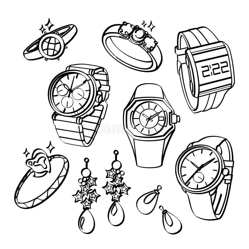 Smycken och klockor stock illustrationer