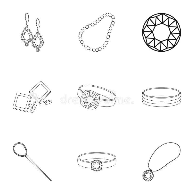 Smycken och tillbehören ställde in symboler i översiktsstil Stor samling av materielet för smycken- och tillbehörvektorsymbol vektor illustrationer