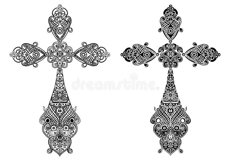 Smyckenuppsättningen av antika Christian Crosses dekorerade med diamanter som isolerades på vit, vektorn eps10 stock illustrationer