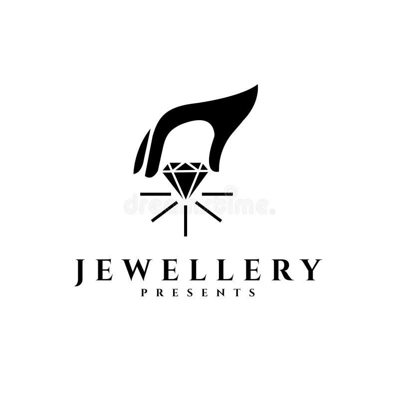 Smyckenvektorlogo Gåvavektorlogo Guld- logo Försilvra emblemet stock illustrationer