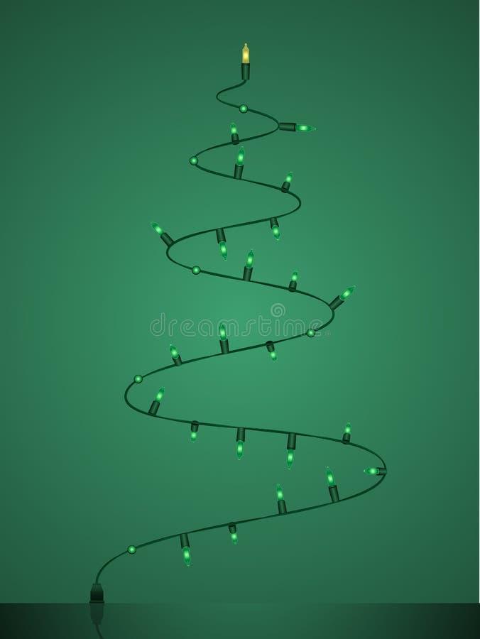 smyczkowy bożonarodzeniowe światła drzewo ilustracji