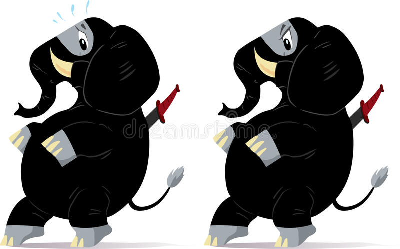 smyga sig för ninja för elefant nervöst royaltyfri illustrationer