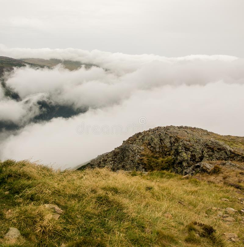 SnÄ›žka - View at cloudy mountains. In Krkonoše, Czech republic royalty free stock images