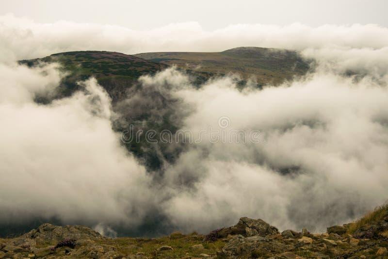SnÄ›žka - View at cloudy mountains. In Krkonoše, Czech republic stock photography