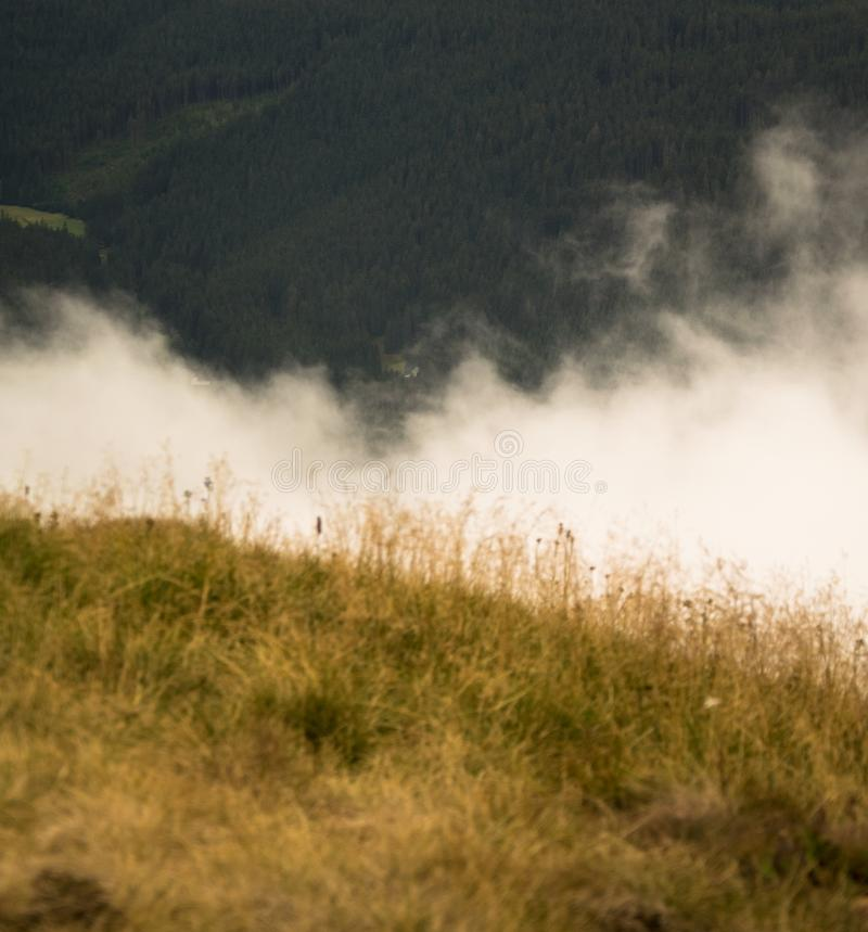 SnÄ›žka - View at cloudy mountains. In Krkonoše, Czech republic royalty free stock photography