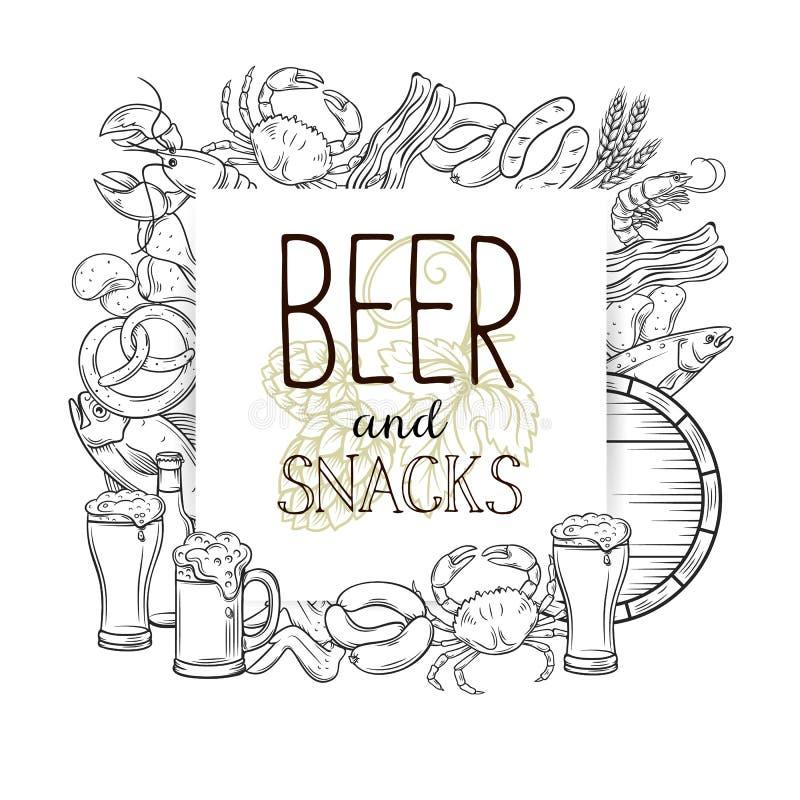Snäcke und Bier stock abbildung