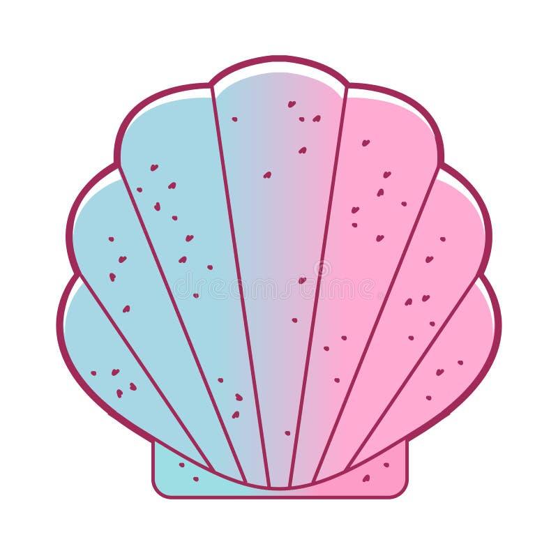 Snäckskal bivalved blötdjur Exotisk kammussla, lös liv-natur för marin- blötdjur Enkelt havsskal Packinghouse för små dockor royaltyfri illustrationer