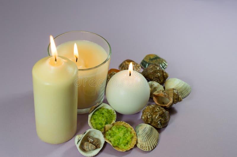 Snäckskal och tre stearinljus arkivfoton