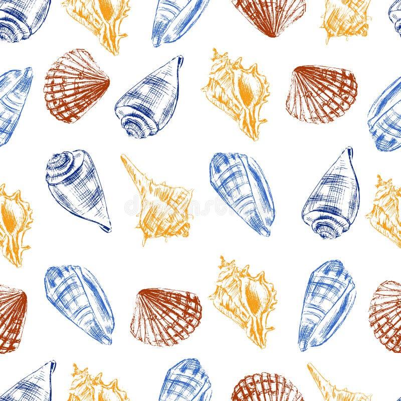 Snäckskal räcker utdragen etsning för vektordiagrammet skissar isolerat på vit bakgrund, undervattens- konstnärligt marin- färgri stock illustrationer