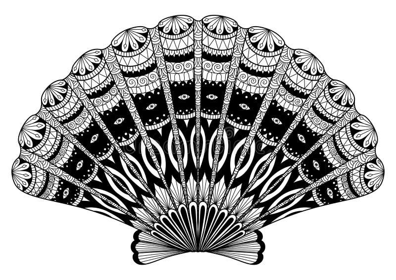 Snäckskallinjen konst för färgläggningbok, effekt för t-skjortadesignen, logo, tatuerar och så vidare royaltyfri illustrationer