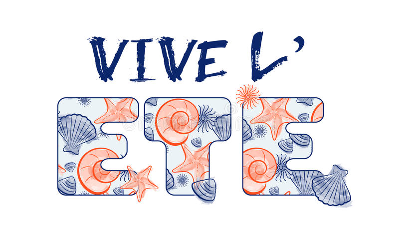 Snäckskalsommarattraktion och text med sömlös textur - Frankrike vektor illustrationer