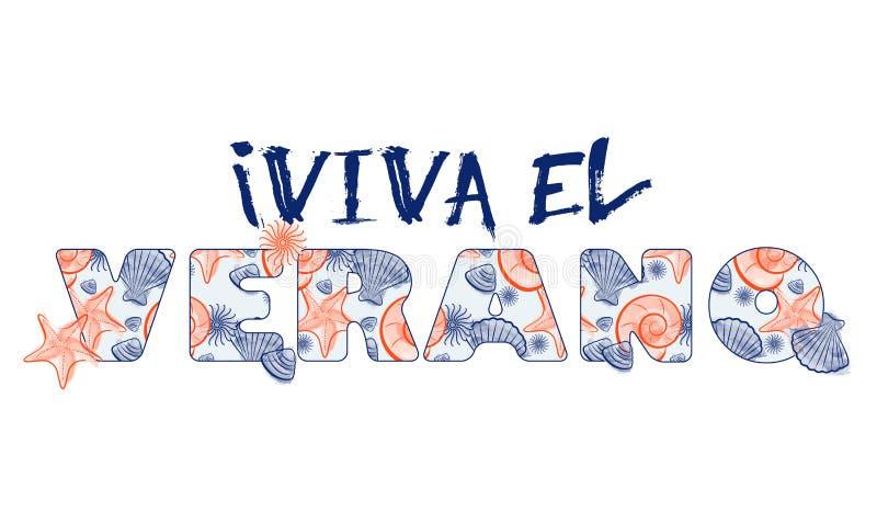 Snäckskalsommarattraktion och text med sömlös textur - Spanien royaltyfri illustrationer