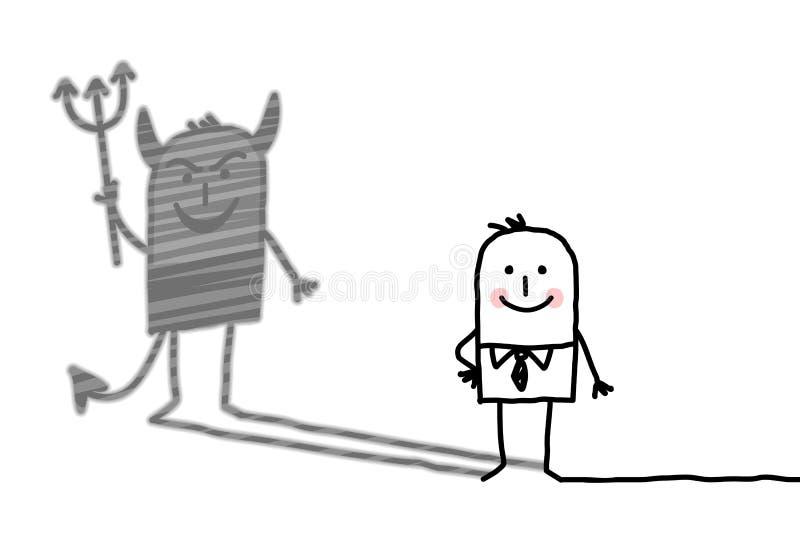Snäll man med jäkelskugga royaltyfri illustrationer