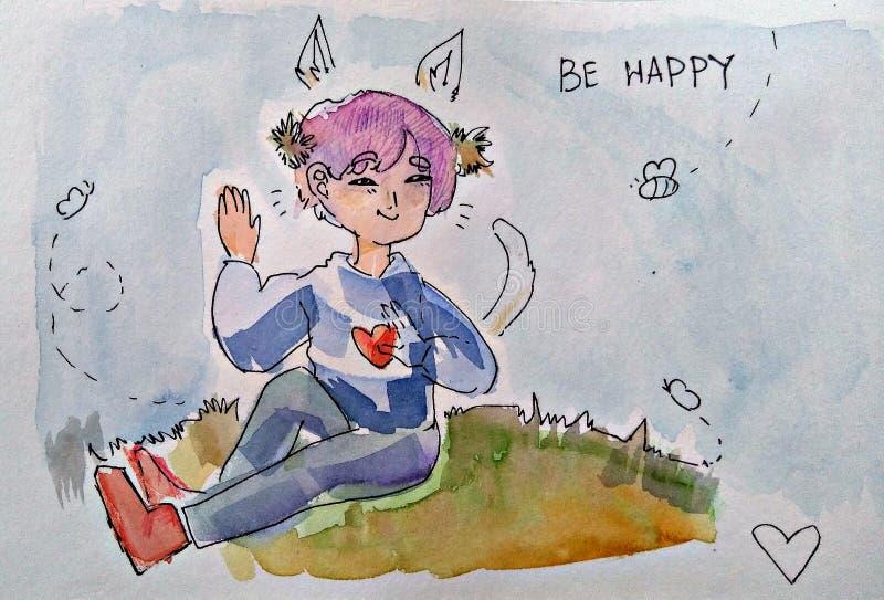 Snäll trevlig personflicka eller pojke, sommar vektor illustrationer