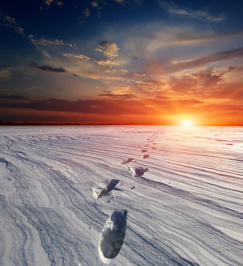 Snö-bana i stäpp på solnedgångbakgrund royaltyfri fotografi