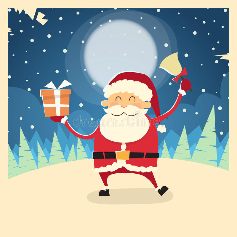 Snö för Santa Claus Hold Bell Present Gift askvinter stock illustrationer
